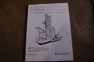 Bt Prime Mover Sr30 Electric Forklift Walkie Reach Truck Parts Manual Book 1991