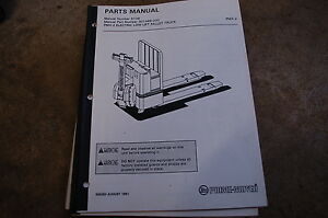 Bt Prime Mover Pmx 2 Electric Pallet Jack Truck Parts Manual Catalog Book 1991