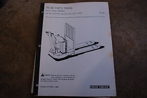 Bt Prime Mover Pe 80 Electric Walkie Lift Truck Pallet Parts Manual Catalog Book