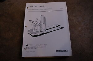 Bt Prime Mover Ht60w Warehouser Electric Pallet Truck Parts Manual Catalog Book