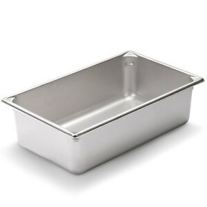 Full Size 6 Inch Deep Stainless Steel Steam Table Pan Anti Jamming 24 Gauge