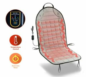 Zone Tech Gray Car Heated Seat Cover Cushion Warmer 12v Heating Pad With Remote