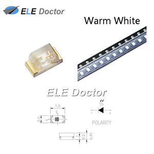 1000pcs Smd Smt 0402 1005 Led Warm White Light Emitting Diodes Chip