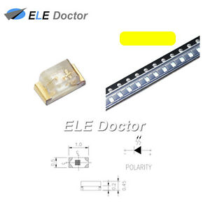 1000pcs Smd Smt 0402 1005 Led Yellow Light Emitting Diodes Super Bright Chip