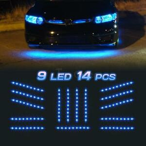 14pc Blue Led Under Car Glow Underbody Shine Lights Bar Strip Kit 9 3528 smd