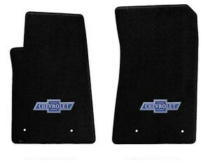 New Black Floor Mats 1973 1983 Chevy Pickup Truck C10 K10 Blue Embroidered Logo