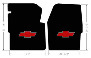 New Black Floor Mats 1960 1966 Chevy Pickup Truck C10 K10 Red Embroidered Logo