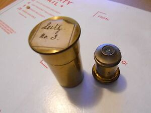 Brass Leitz Microscope Objective 3 With Brass Holder