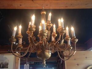 Wood Wire Gold Painted 18 Light Vintage Chandelier