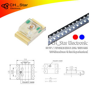 1000pcs 0805 2012 smd Smt Two color Bi color Red blue Light Led Diodes