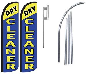 Dry Cleaner Standard Windless Swooper Flag With 2 Complete Kit