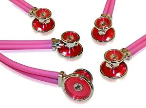 5 Pack Of Bling Sprague Rappaport type Adult Stethoscopes Hot Pink
