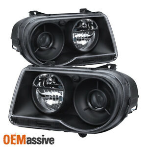 Fit 2005 2010 Chrysler 300c Black Projecter Headlights 2006 2007 2008 2009