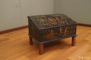 Indian Middle Eastern Figural Decorated Desk Table Chest Tree Of Life Antique