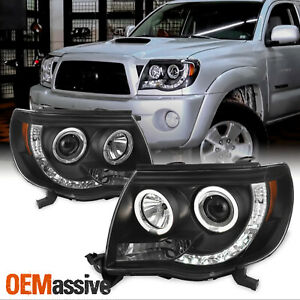 Fits 2005 2011 Toyota Tacoma Black Halo Projector Led Headlights 2006 07 08 2009