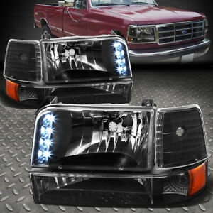 For 92 96 Ford F150 F250 F350 Black Amber Corner Led Drl Headlight Bumper Lamps
