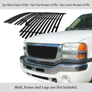 Fits 2003 2006 Gmc Sierra 1500 2500hd 3500 Stainless Black Billet Grille Combo