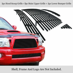 Fits 2005 2010 Toyota Tacoma Trd Sport Stainless Black Billet Grille Combo