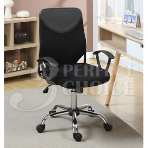 Adjustable Executive Computer Desk Office Chair Faux Leather Back Cushion Black