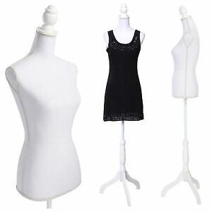 White Female Woman Torso Body Mannequin Dress Clothing Display Wood Tripod Stand