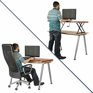 Halter Manual Adjustable Height Table Top Sit Stand Desk Cherry