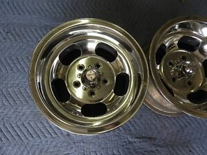 Vintage 14x8 Pair Real Us Indy Mags Polished Nice 5 On4 3 4 Chevy Pontiac Buick