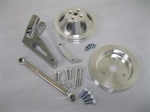 Small Block Chevy Swp Alternator Bracket Kit W Water Pump Crankshaft Pulley Set