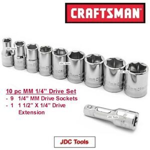 Craftsman Hand Tools 10pc Lot 1 4 Drive 6 Pt Mm Ratchet Wrench Socket Set
