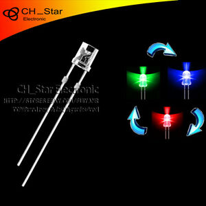 1000pcs Flat Top Transparent 2pin 5mm Rgb Slow Flashing Automatically Led Diodes