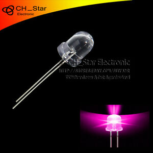 500pcs 8mm Led Round Top Transparent Pink Light Emitting Diodes Water Clear