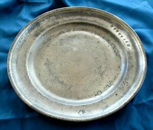 1700 S Early American Antique Pewter Charger Tray Boston Estate Americana