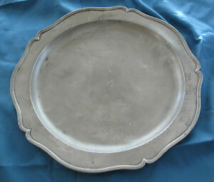 1700 S German Early American Antique Pewter Charger Plate Boston Estate