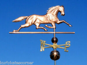 Large Copper Horse Weathervane With Copper Balls And Brass Directionals 426
