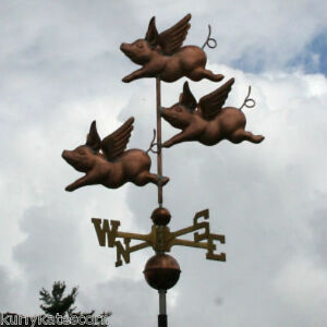 Sweet Flying Copper Pigs Weathervane Made In Usa 238