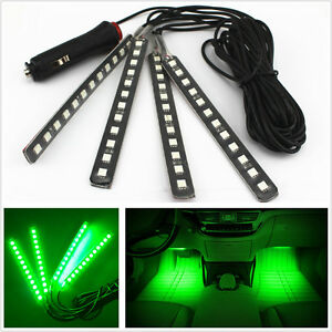 Car Suv Interior Decorative Atmosphere Glow Light Strips 4x12led Green Neon Lamp