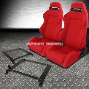 Pair Type r Red Reclinable Racing Seats low Mount Bracket For 01 05 Honda Civic