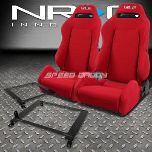 Nrg Type R Red Reclinable Racing Seats Low Mount Bracket For 01 05 Honda Civic
