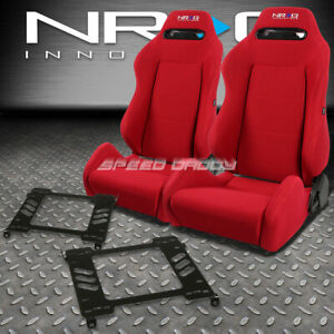 Nrg Type r Red Reclinable Racing Seats bracket For 94 01 Acura Integra Db Dc1 2