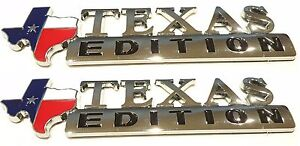 Two Texas Flag Edition Emblems Chevy Ford Dodge Truck Universal Abs 3m Stickon