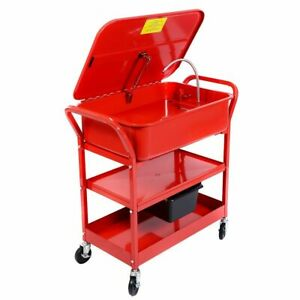 20 Gallon Mobile Parts Washer Cart Electric Solvent Pump Cleaner New