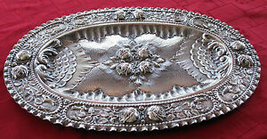 1870 S Austrian Hungarian Solid 800 Silver Tray Hand Chased Superb Detail