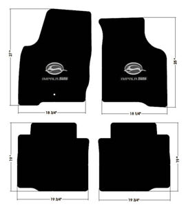 New Black Floor Mats 2006 2016 Chevy Impala Embroidered Ss Double Logo Set Of 4