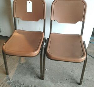 50 Iceberg Brown Or Gray Stacking Chairs H duty Metal Plastic Seats