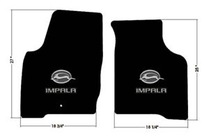 New Black Floor Mats 2006 2014 Chevy Impala Embroidered Double Logo Pair Set