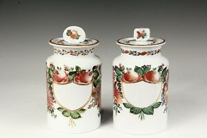 Antique French Opaline Glass Apothecary Jars Hand Painted White Glass 19th C