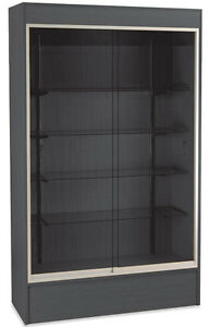 Wall Case Retail Display Knockdown Trophy Showcase 48 lx18 dx78 h Black New