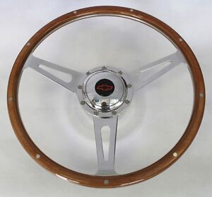 Chevy Pick Up Blazer 9 Hole Retro Wood Steering Wheel 15 Red Black Center Cap