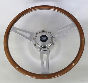 Falcon Mustang W Generator Cobra Style 9 Hole Steering Wheel Wood 15 Ford Cap