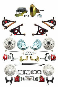 Gm 1967 72 A Body Four Wheel D S Disc Brake Kit 11 Power Control Arms Red Pc