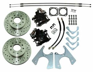 67 74 Staggered Rear End Axle Disc Brake Conversion Kit 10 12 Bolt Cross Drilled